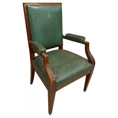Art Deco Office Chair, Mahogany And Leather In The Style Of André Arbus, Circa 1940