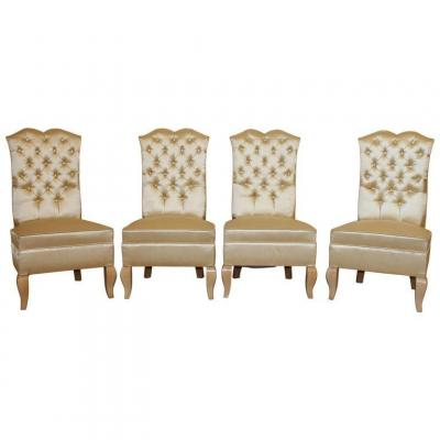 4 Art Deco Armchairs In Sycamore And Satin, Circa 1940/1950
