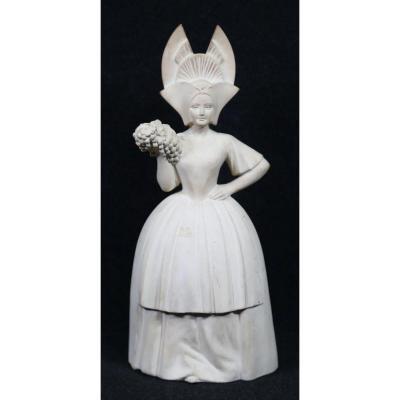 Bohumil Rezl (1899-1963) Champenoise In Regional Costume, Terracotta Art Deco Circa 1930/1950