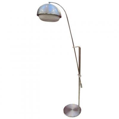 Grande Lampe Vintage A Hauteur Variable , En Métal Chromé, Alu Et Perpex Circa 1970