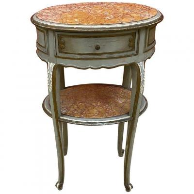Large Louis XV Style Bedside Table In Patinated Wood And Marble Circa 1900