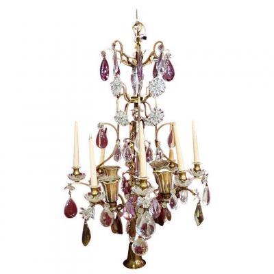 Maison Bagues, Charmant Grand Lustre( 120 Cm)  En Bronze Et Cristal, Circa 1950