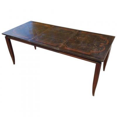 Rare Table Art Deco En Palissandre Et Marqueterie Néo Classique Circa 1940