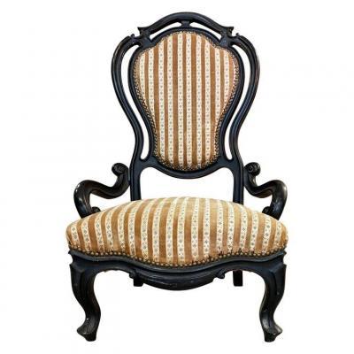 Originale Chaise Epoque Napoléon III , En Bois Noirci