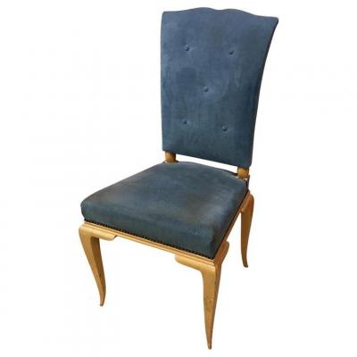 Art Deco Side Chair In Lacquered Wood And Velvet, Attributed To René Prou, Circa 1940