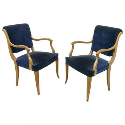 René Prou (attributed To) Pair Of Art Deco Armchair In Lacquered Wood, Circa 1940/1950
