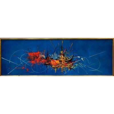 Georges Mathieu, 1921-2012 Composition Abstraite Gravure Offset En Couleurs édition Braun,