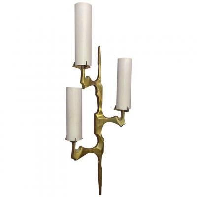 Arlus, Large Wall Lamp In Bronze And Opaline Glass, Syle Felix Agostini, Circa 1970