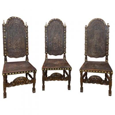 3 Large Leather Chairs From Cordoba, Spain XIX Eme, Provenance Chateau Center De France