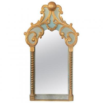 Original Large Baroque Mirror In Lacquered And Gilded Wood Early Twentieth