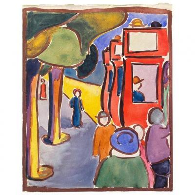 """Loïs Hutton (1893-1972) Gouache """"Promeneurs"""" sur papier, datée au revers. 1919"""