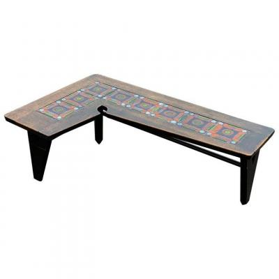Guillerme And Chambron, Rare Living Room Table In Oak And Ceramic, Circa 1960