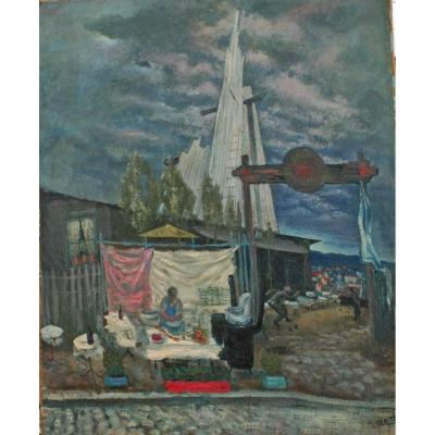 Pierre Verite (1900-1993). The Depot In The District Of La Ruche. Oil On Canvas, Signed