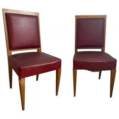 2 Art Deco Chairs In The Style Of Jean Michel Frank, Circa 1930