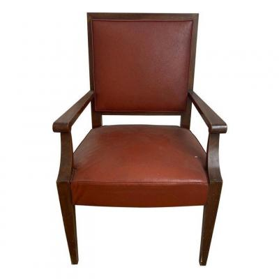 Art Deco Mahogany Office Chair In The Style Of André Arbus, Circa 1930/1940