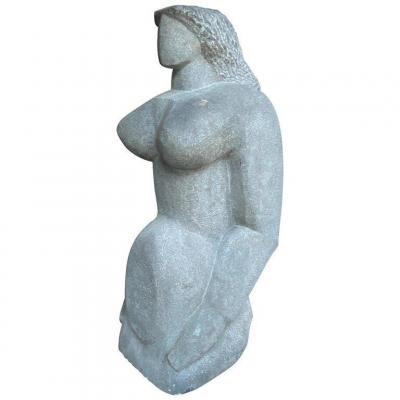 Stievenart Michel (1910-1991) Sculpture En Pierre Bleue,  Datée 62