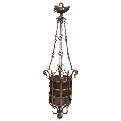 Lantern Of Chateau Circa 1930, Nice Work Of Ferronerrie