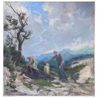 """Alfons Verheyen, (1903-1990) """"la mort du poète"""", huile sur toile circa 1940"""