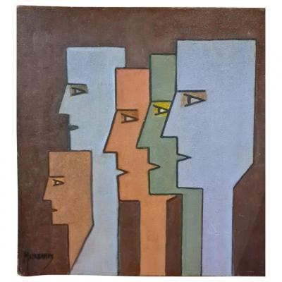 Raymond Mauchamps (xx-xxi) Composition With 5 Faces,