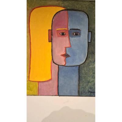 Raymond Mauchamps 'xx-xxi' Composition Aux Deux Visages