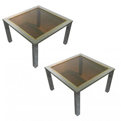 Pair Of Tips In Sofa 1970 Chrome And Brass