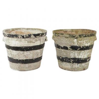 2 Anciens Cache-pots En Ciments , Circa 1930/1950