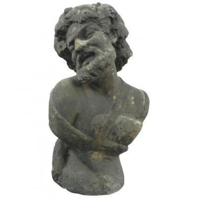 Buste  En Pierre Calcaire Début XXeme ( Bacchus, Faune ..)