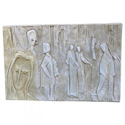 Roger Desserprit (1923-1985) Personnages ,bas-relief En Ciment, Signé , Daté 64