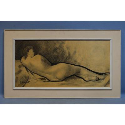 """Nu couché"""", huile sur panneau signée A. BODART (petite griffe) (50x100)"""