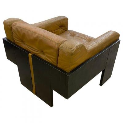 Armchair In Lacquered Wood And Leather, Italian Design Circa 1960/1970, Style Claudio Salocchi P