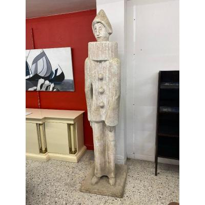 """Roger Desserprit (1923-1985) """"pierrot"""" Large Sculpture (235cm) In Cement, Signed And Dated 67"""