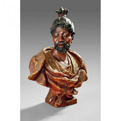 Friedrich Goldscheider (1845 - 1897). Polychrome Terracotta Bust Circa 1890