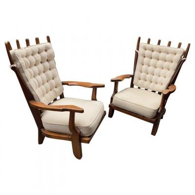 Guillerme Et Chambron, Pair Of Oak Armchairs, Grand Repos Model, Your House Edition, 1970
