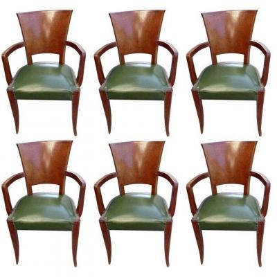 Suite Of 6 Armchairs Bridges Art Deco Period In Mahogany And Elm Burl Circa 1930