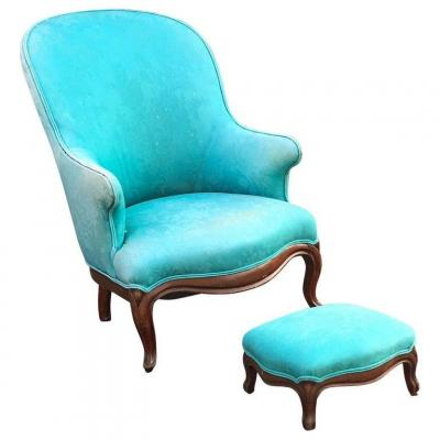 Louis Philippe Armchair And Its Footrest Circa 1950