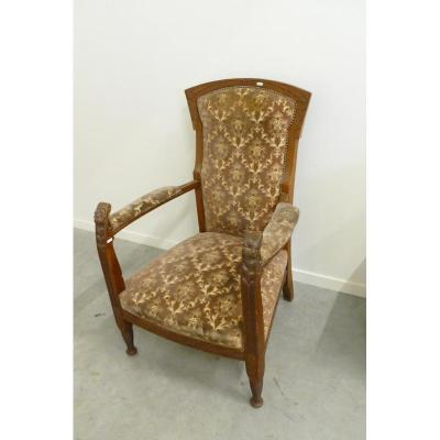 Old Art Nouveau Armchair In Carved Oak Circa 1900