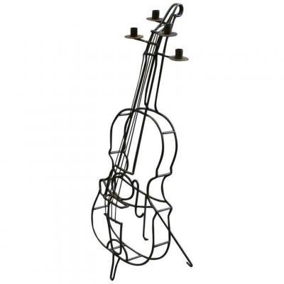 Original Large Wrought Iron Candelabra, Cello Shaped Circa 1950/1960