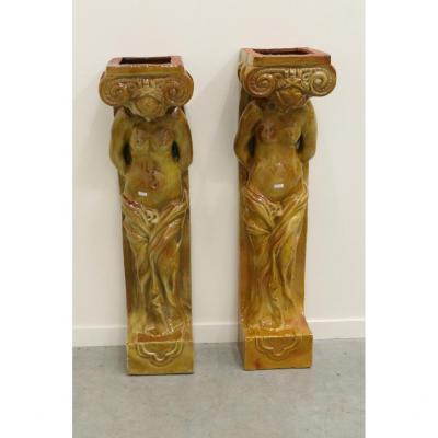 2 Enamelled Terracotta Caryatids Circa 1930