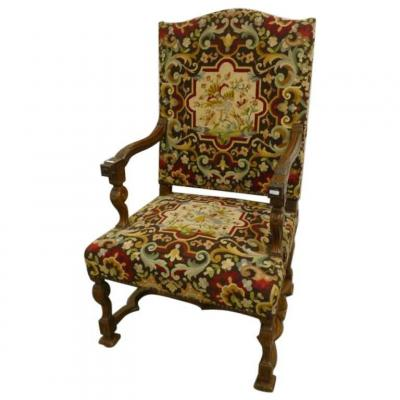 Armchair In Walnut And Tapestry, Louis XIV Style, Early Twentieth Time