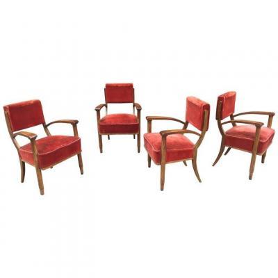 Série de 4 fauteuils Art Deco dans le style d'Eugene Printz