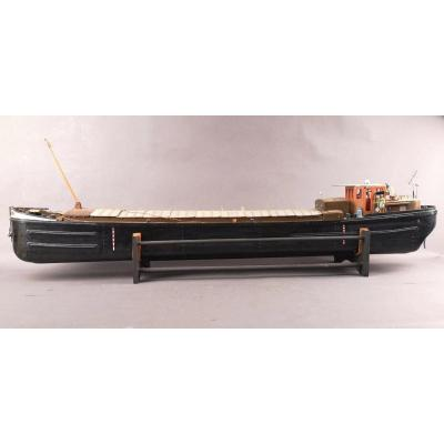 Large Model Of Barge In Wood And Composite Material Circa 1960