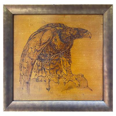 Art Deco Work, Pyrographed Table Representing An Eagle, In A Silver Wood Frame, 1930