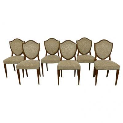 8 Art Deco Walnut Chairs, Brass Clogs