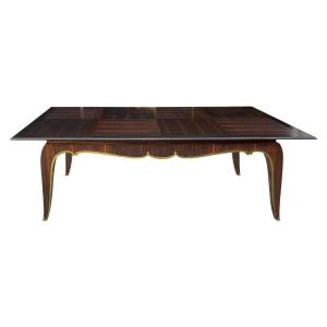 Very Large Art Deco Table In Macassar Ebony And Bronze Circa 1930 (220cm + Extensions)