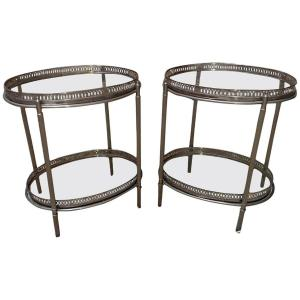 Maison Baguès Pair Of Ends Of Sofa Or Side Tables In Silver Metal And Glass Circa 1960