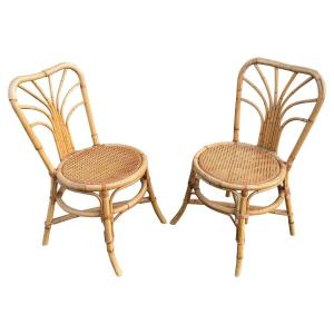 Paire De Chaises En Bambou Circa 1970