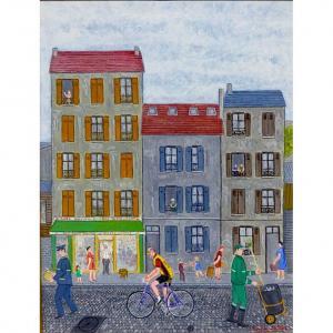 "André Salaùn (1925-2005) ""chez Galou "" huile sur toile circa 1970"