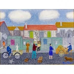 """André Salaùn (1921-2005) """"Rémouleur rue st thomas"""" huile sur toile circa 1970"""