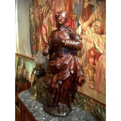 Grande Sainte En Extase En Bois Sculpté