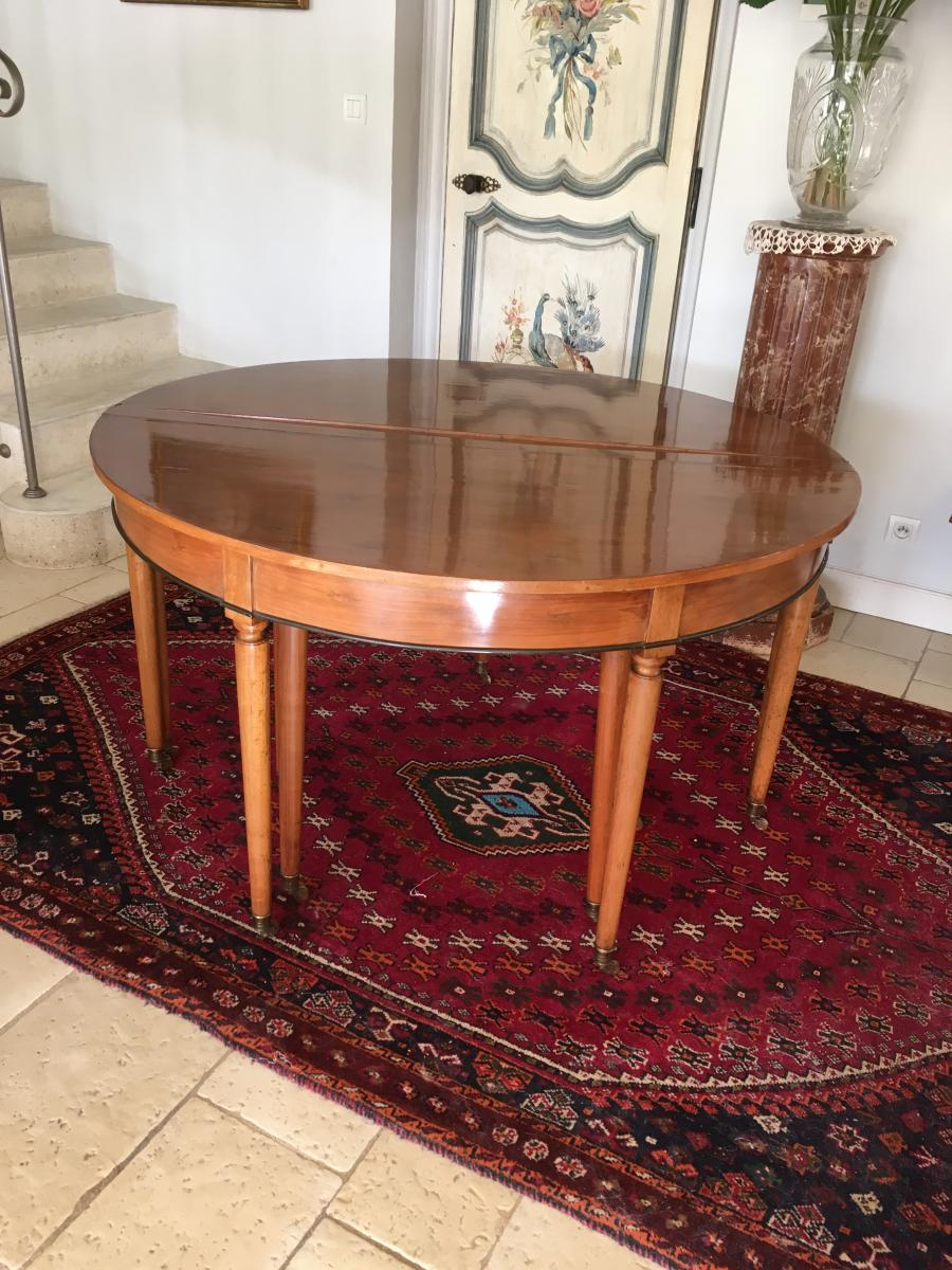 Louis xvi table half moon walnut allonges dinner tables for Table salle a manger ancienne